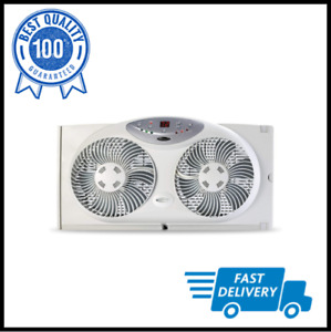 Window Fan with Twin 8.5-Inch Reversible Airflow Blades and Remote Control White