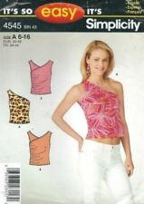 Simplicity Sewing Pattern Tops Asymmetric One Shoulder 6-16 4545 B&W COVER UNCUT