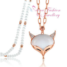 18K Rose Gold Plated Simulated Opal & Damond Popular Stunning Fox Long Necklace