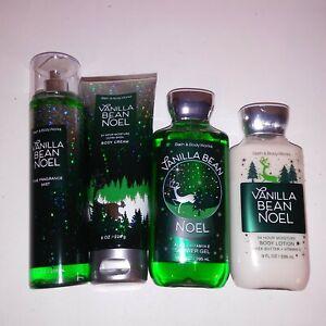 Set of 4 Bath and Body Works Vanilla Bean Noel Fragrance Spray Lotion Cream Gel