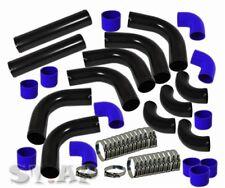 "FMIC Turbo 2.5"" Aluminum Intercooler 12 Pc Piping Pipe Kit Black Blue Hose Clamp"