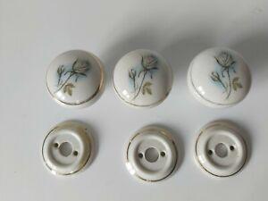 Vintage Floral  Blue Rose Design PORCELAIN Door Knobs and Plates x 3