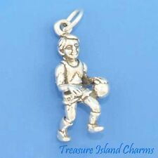 Basketball Boy Player 3D .925 Solid Sterling Silver Charm MADE IN USA
