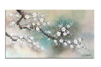 48 x 24 Floral Wall Art for Living Room Hand Painted Plum Tree Blossom