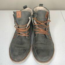 Aldo Mens Ankle Boots Gray Moc Toe Lace Up Faux Fur Lined 10.5 EUR 43.5