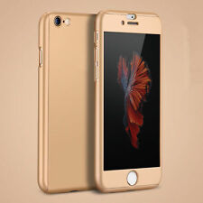 For Apple iPhone 6 6s 7 Plus 360° Case Ultra Thin Slim Hard Cover+Tempered Glass