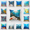 HK- KQ_ FT- 18'' Aquatic Ocean Marine Natural Sofa Cushion Cover Home Decor Pill