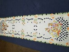Spring Embroidered Easter Bunny Egg Floral  Tablecloth Runner Colorful