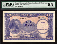 Congo 1000 Francs 1962 Pick-2a About UNC PMG 55