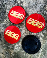 BBS RS rouge/or insignes Centre Caps emblèmes decals à 3 broches 70 mm RF RM