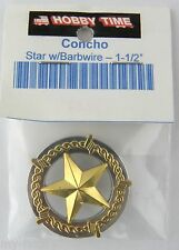 """1-1/2"""" Star w/Barbwire Concho - Chicago Style Screwback - Gold & Silver Plate"""