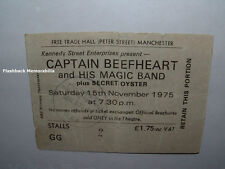 CAPTAIN BEEFHEART 1975 Concert Ticket Stub MANCHESTER UK Secret Oyster MEGA RARE