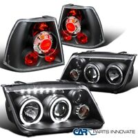 For 99-05 Jetta Bora Mk4 Black LED Halo Projector Headlights+Rear Tail Lamps