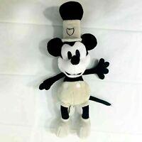 Vintage Disney Mickey Mouse Black & White Steamboat Plush Stuffed Animal