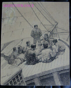 DESSIN ORIGINAL ALFRED PARIS - illustration livre Voyages de Louis Garneray #1