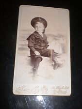 Cdv old photograph sailor boy toy yacht by Abernethy at Belfast c1890s