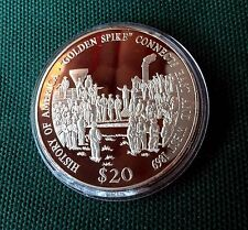 Liberia 2000 Large Silver Proof $20-East/West Railroad Connection-Golden Spike