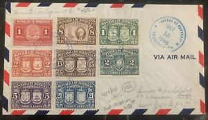1946 Tegucigalpa Honduras First Day Cover FDC To New York USA #427/33 Stamps