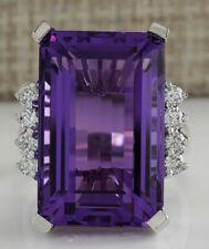 20.85 Carat Natural Amethyst 14K White Gold Diamond Ring