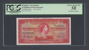 Bermuda 10 Shillings 20-10-1952 P19as Specimen About Uncirculated