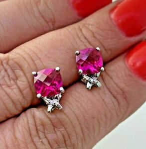 Pink Topaz & Natural Diamond Stud Earrings in 10k Solid White Gold by Ema