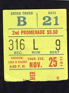 1971 Emerson Lake Palmer Geils concert ticket stub Tarkus Madison Square Garden