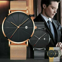 Trendy Men Ultra Thin Minimalist Watch Slim Steel Strap Stainless Steel Quartz ~