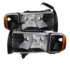 Xtune 9032158 OEM Headlights (Black) Fits 1999-2002 Dodge Ram Sport Models