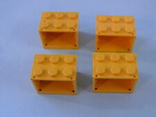 Lego 4 coffres jaunes 7891 3645 3623 3674 / 4 yellow containers w/ solid studs