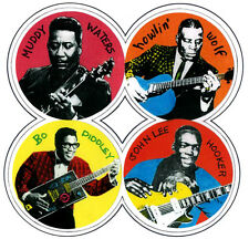 4  DRINKS  COASTERS. BLUES, MUDDY  WATERS, HOWLIN' WOLF, BO DIDDLEY + 1.