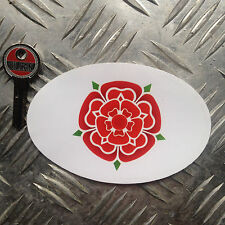 L:ancashire red rose  oval car sticker / decal 110mm wide x 70mm high