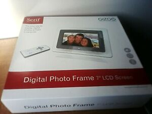 "Serif Gizo Digital Photo Frame 7"" Inch  w/ remote flash drive port music video"