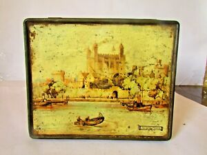 """Vintage Tin Box Thorne's """"The Tower Of London"""" Toffee Candy, Rare Tin Box 1945's"""
