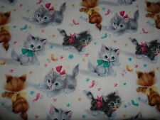 Michael Miller Kitties Cream Fabric sold by Quarter  METRE Kittens Cats