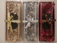 Pack of 2 Decorative Christmas Candles with Holders Select: Gold, Silver or Red