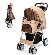 Petsjoy Foldable Pet Stroller 4-Wheel Cat Dog Travel Carrier w/ Storage Basket