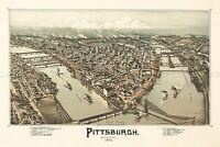 MAP ANTIQUE 1902 FOWLER PITTSBURGH PENNSYLVANIA AERIAL REPLICA PRINT PAM2011