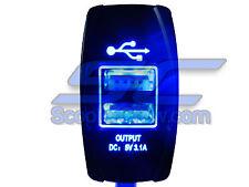 USB Charger 5 Volt 3.1 amp Output Led Rocker Switch Cell Phone Camera 2 Port UTV