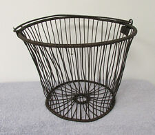 Vintage Potato Basket Egg Bucket Garden Pail Farmhouse Wire Decor Antique RA67