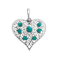 Turquoise and Sterling Silver Heart Shaped Pendant