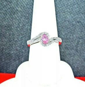 NATURAL MAHENGE PINK SPINEL,CAMBODIAN ZIRCONS PLATINUM OVER 925 S.S. RING SIZE 8