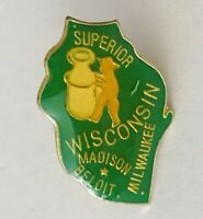 Wisconsin Pin Badge Superior Milwaukee Madison Rare Vintage Souvenir (G8)