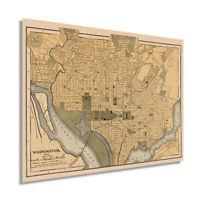 1897 Map of Washington DC Poster - Vintage Washington DC Wall Art Print Decor