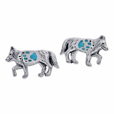 925 Silver Turquoise Southwestern Style Wolf With Paw Post Back Stud Earrings