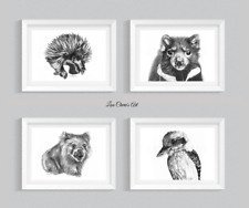 Australian Animal Prints, Echidna, Tasmanian Devil, Wombat, Kookaburra, Wildlife