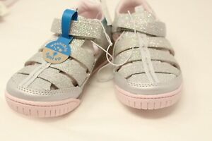 Surprize ~ Stride Rite Size 11 Toddler Light Up Silver Glitter Fisherman Sandals