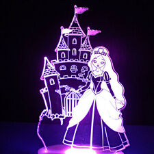 3D Cartoon Princess Night Light 7 Color Change LED Desk Lamp Touch Decor Gift