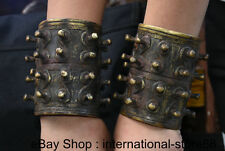 """4"""" Old Chinese China Bronze Wrist Finesse Protective Gear Weapon Statue Pair"""