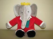 "Vintage Gund King Babar the Elephant 14"" Stuffed Plush Animal Toy 1988"