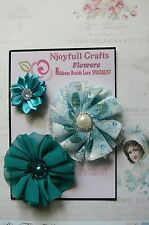 HANDMADE 3 Flower Mix TEAL Organza Satin Lace 35 & 70mm NjoyfullCrafts